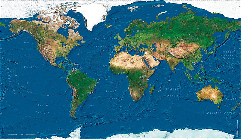 Wall Map – Map of the World Satellite